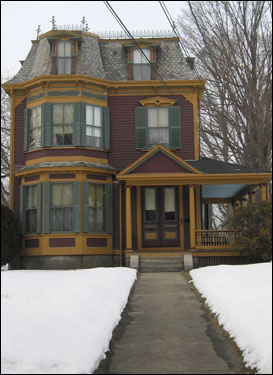 Mile 9.7: Classic Victorian 83 West Central St. Decked out in green, burgundy, and yellow.