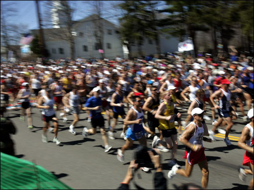 The runners were off at the start of the 2005 Boston Marathon in Hopkinton.