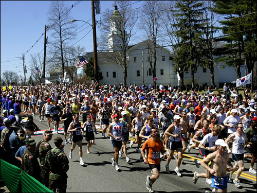 A view of the starting line in Hopkinton.