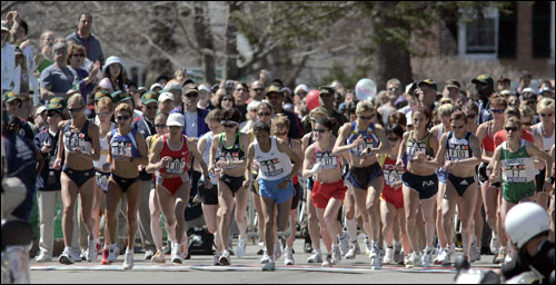 The women were off at the start of the marathon. A field of 20,453 runners started the world's oldest annual marathon in Hopkinton.