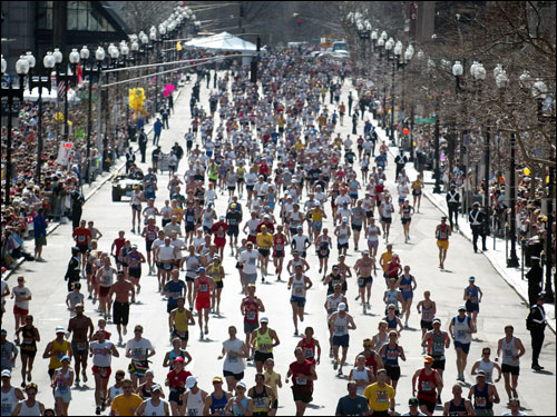 There was no parking on Boylston Street, or moving violations for that matter, as runners from curb to curb raced to the finish line just ahead.