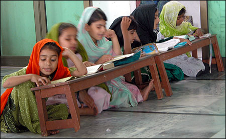 Even in religiously moderate schools like Jama-e-Saeedia in Pakistan, girls are a minority.