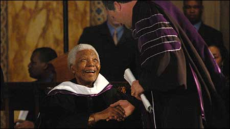 Amherst College president Anthony Marx greeted Nelson Mandela.