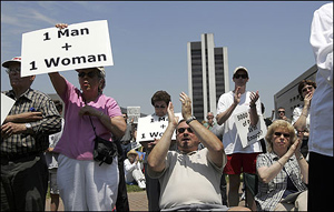 Supporters of a constitutional amendment on marriage in North Carolina rallied last week in Raleigh, N.C.