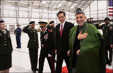 Governor Mitt Romney accompanied Hamid Karzai (R) upon Karzai's arrival last night at Logan Airport.