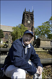 Steven Stark outside St. Peter's Church in Liverpool, where John Lennon and Paul McCartney were introduced.