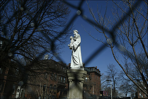A statue of Saint Anthony on the grounds of Saint Brigid Parish Church, which was founded in 1908.