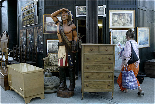 Broadway Furniture and Antiques tempts passersby.