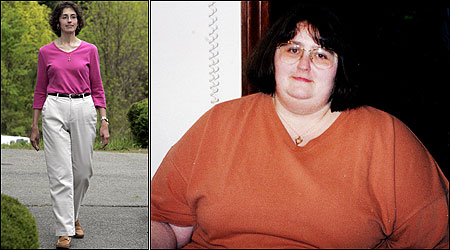 Caryn McCormack, 37, of Bridgewater, has lost over 250 pounds over the past two years. At right is a picture of McCormack in 2000; left, at about 130 pounds.