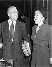ADVERSARIES. Superintendent Miriam Van Waters (right) introduced extensive education and job training and other reforms to Framingham. But in 1948 corrections commissioner Elliott McDowell (left) tried to remove her following a scathing report criticizing everything from the neatness of the lawn to alleged rampant homosexual activity in the prison.