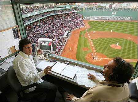 Uri Berenguer (L) said he considered broadcast partner J. P. Villaman to be his mentor. ''In J. P.'s eyes, the Red Sox could do nothing wrong,'' Berenguer said. The pair teamed up for a Red Sox game against the Atlanta Braves on May 20 at Fenway Park.
