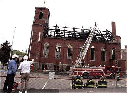 The charred remains of the church