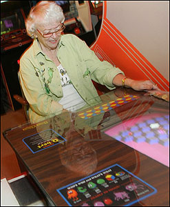 Doris Self of Fort Lauderdale, Fla., shows her mastery of Q*bert.
