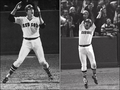 When the ball came off the bat, Fisk was motioning for it to stay in fair territory in this famous pose; after the ball hit the foul pole, he -- and all of New England -- erupted in celebration.