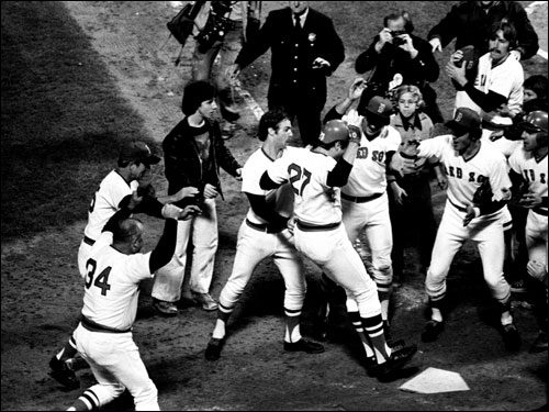 Fisk leapt onto the plate, where he was immediately mobbed by his elated teammates. His home-plate stomp officially ended what is widely believed to be one of the best games in World Series history.