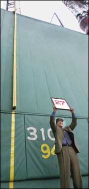 Fisk's No. 27 was retired by the Red Sox in 2000; the left-field foul pole was renamed after him last night.
