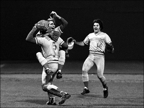 The Red Sox took a 3-0 lead in Game 7, but the Reds rallied and won the game, and the series, 4-3. Pete Rose, right, runs to celebrate with teammates Will McEnaney, rear left, and Johnny Bench.