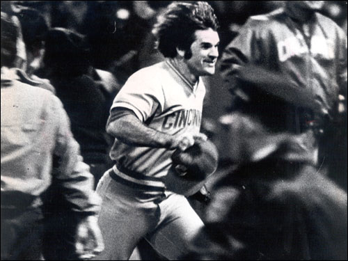 Combined, the 1975 Red Sox and Reds had six players (Joe Morgan, Bench, Tony Perez, Sparky Anderson, Carl Yastrzemski, Fisk) since enshrined in Cooperstown and another four (Jim Rice, Luis Tiant, Rose -- pictured -- Dave Concepcion) who might yet join them.