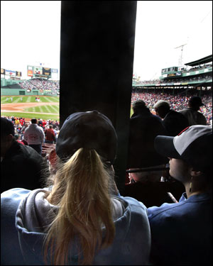 Would you pay $45 (full price) to sit behind a pole? Susann Krzyminski can't see the pitcher, the batter, or the entire right side of the field.