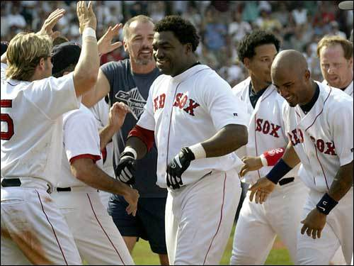 July 26, 2003 Red Sox 5, Yankees 4 Ortiz is mobbed after his ninth-inning double off the Green Monster drove home Jeremy Giambi and gave the Sox a 5-4 win over the Yankees.