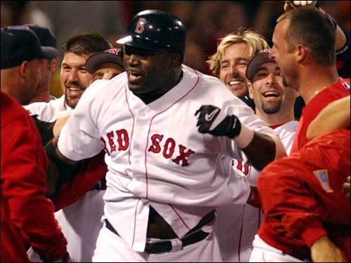 Sept. 23, 2003 Red Sox 6, Orioles 5 David Ortiz is greeted at home plate after his 10th-inning bomb over the Monster lifted the Sox over the Orioles.