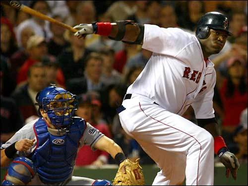 June 11, 2004 Red Sox 2, Dodgers 1 Ortiz watches his ninth-inning single fall, allowing Johnny Damon to come around from second and score the game winning run against the Dodgers.