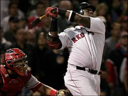Oct. 8, 2004 Red Sox 8, Angels 6 Ortiz watches his two-run home run off Jarrod Washburn sail over the Monster in the 10th inning of Game 3 of the 2004 ALDS. The shot clinched the series for the Sox.