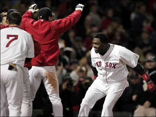 Oct. 17, 2004 Red Sox 6, Yankees 4 Ortiz prepares to leap on home plate after his 12th-inning, two-run homer off of Paul Quantrill in Game 4 of the ALCS gave the Sox new life against the Yankees.