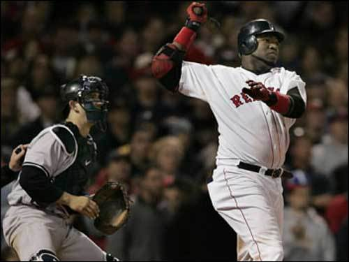 Oct. 18, 2004 Red Sox 5, Yankees 4 Ortiz and Yankees catcher Jorge Posada look on as Ortiz drops a 14th-inning single into center field, allowing Johnny Damon to score from second and the Sox to send the ALCS back to New York.