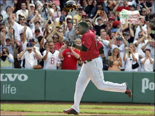 June 2, 2005 Red Sox 6, Orioles 4 Ortiz approached home after his three-run shot off of BJ Ryan in the bottom of the ninth landed in the center-field bleachers and brought the Sox one game closer to the then-AL East leaders.