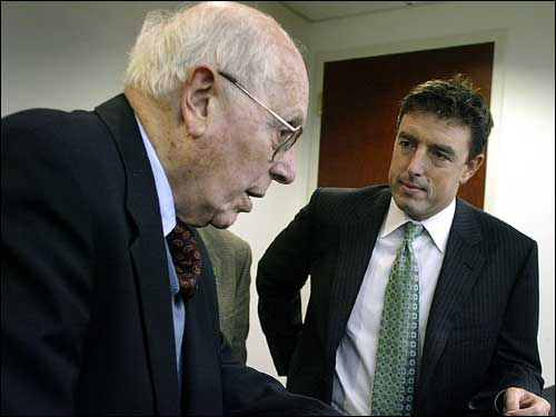 Celtics owner Wyc Grousbeck chatted with Auerbach before a charity event in 2004. Grousbeck and fellow part-owner Steve Pagliuca made it a point to make Red feel more of a part of the Celtics again after they bought the team in late 2002.