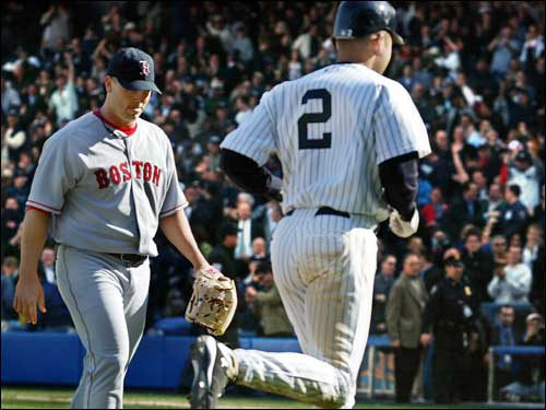 Keith Foulke returned to the dugout after giving up Derek Jeter's walkoff home run in the ninth inning in a 4-3 loss.