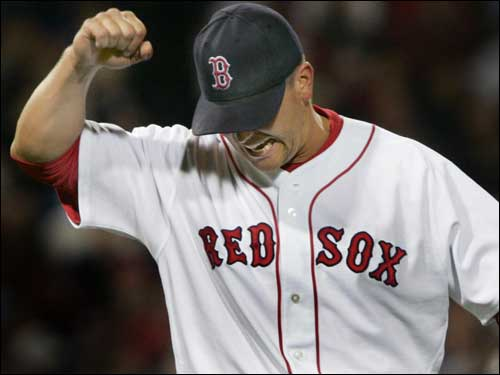 Keith Foulke reacted after yielding the winning run against the Blue Jays. Foulke entered the when the game was tied, and gave up the deciding run in the top of the ninth.