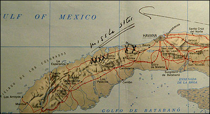 President Kennedy wrote ''missile sites'' and marked the spots on this Cuba map during a briefing on Oct. 16, 1962. The recently recovered item was shown yesterday at the Kennedy Library and Museum.