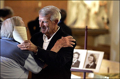 Former Red Sox star player Johnny Pesky greeted mourners yesterday at a memorial service for his wife, Ruth, in St. Mary's Church in Lynn. Ruth Pesky, known for her sense of humor and indifference to the spotlight, died Friday.