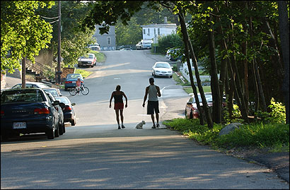 Two people walked a dog yesterday along Clifton Avenue in Saugus. Coyote sightings in the town are surging, and many residents are concerned about the safety of their children and pets.