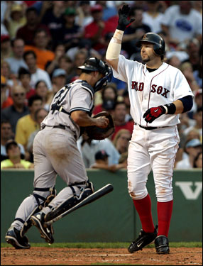 Kevin Millar tosses his bat after striking out to end the sixth.