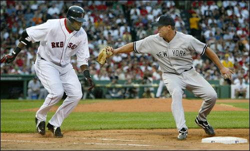Yankee lefthander Al Leiter pitched in with some nifty fielding, too, slapping this tag on David Ortiz in the sixth inning.