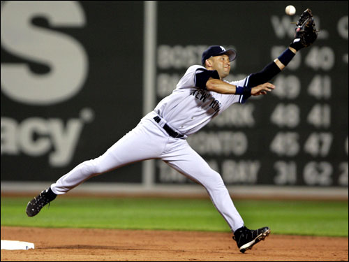 The Red Sox made it close in the ninth inning thanks in part to a throwing error by Robinson Cano, whose throw sailed by Derek Jeter (pictured) on what should have been an easy double play ball.