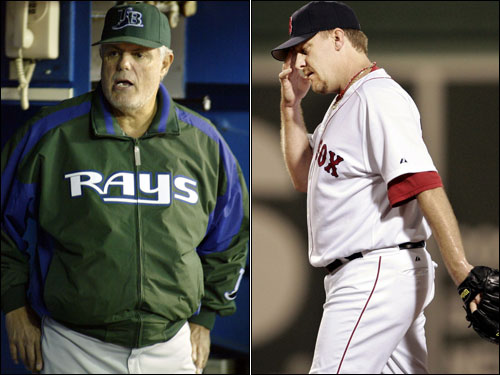 Devil Rays manager Lou Piniella (left) and Curt Schilling exchanged barbs at each other through the media over the incident. Schilling said in a radio interview that Piniella is 'a manager who somehow forgot how the game is played.' Piniella, in response, said, 'I have forgotten more baseball than this guy [Schilling] knows.'