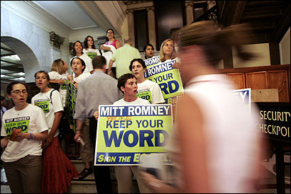 Supporters of the emergency contraception bill lined steps outside Governor Romney's State House office yesterday, after news of the veto. The governor was inside, speaking to reporters.
