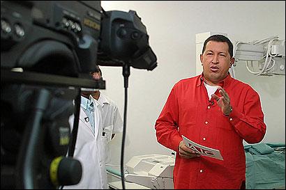 Venezuelan President Hugo Chavez broadcasting ''Alo, Presidente!''