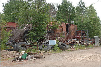 The south annex of one of Harry Smith Jr.'s junkyards runs without a permit in Meddybemps, Maine.