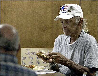 Joe Lawrence lunched at a church in Hampden. The town's senior center was closed July 1.