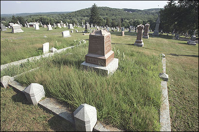 Secretary of State William F. Galvin said several of the area's Catholic cemeteries show signs of neglect, including Immaculate Conception Cemetery in Marlborough (above), where the grass is overgrown in some parts. Galvin delivered a 33-page complaint yesterday to the Catholic Cemetery Association Inc., accusing it of failing to ensure the perpetual care of its 22 Catholic graveyards.