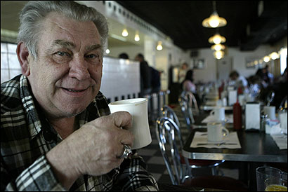 As much as South Boston's demographics have changed, its neighborly feel remains strong. Stanley Saniuk of Quincy, who grew up in Southie, still likes to visit Mul's Diner. (Globe Staff Photo / Jonathan Wiggs)  More photos
