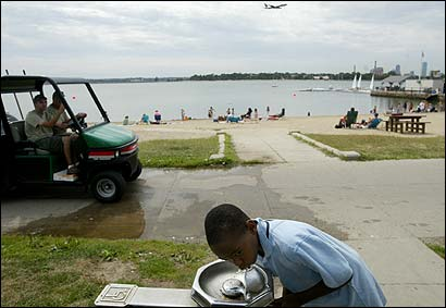 Daquari Young, 10, of Dorchester, took a sip from a water fountain on Castle Island in South Boston yesterday and gave its taste high marks. 'It's fresh, like the air,' he said.
