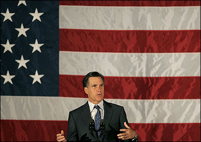Governor Mitt Romney spoke yesterday at the West Newton Armory to a Massachusetts National Guard unit on its way to Kosovo.