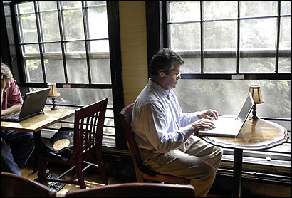 Harry Wilson, an IT director for Tuttle Publishing in Rutland, Vt., lives in Leverett, but often heads for the Book Mill (above) in nearby Montague for high-speed Internet service.