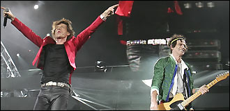 Mick Jagger and Keith Richards at Tuesday's Rolling Stones show